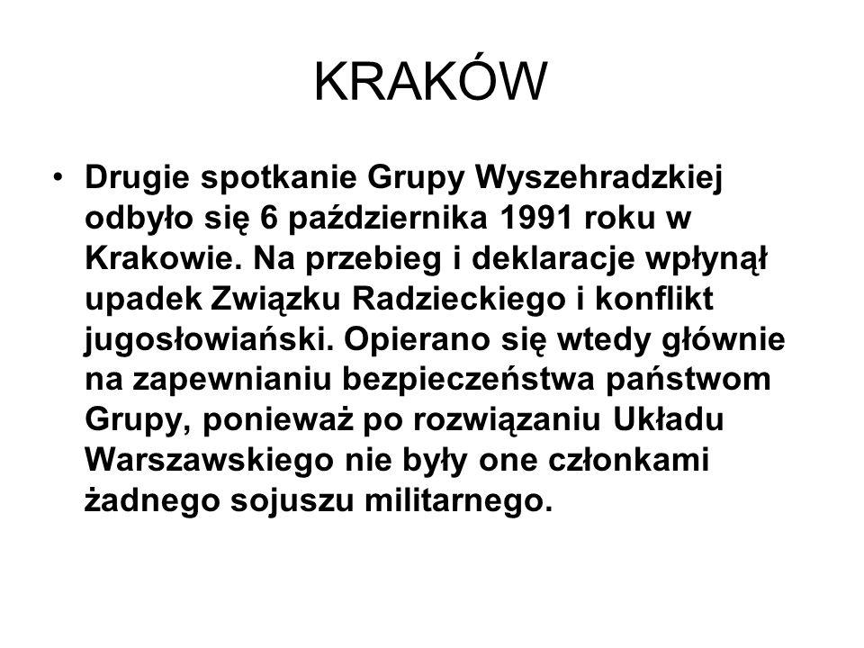KRAKÓW Drugie spotkanie Grupy Wyszehradzkiej odbyło się 6 października 1991 roku w Krakowie. Na przebieg i deklaracje wpłynął upadek Związku Radziecki
