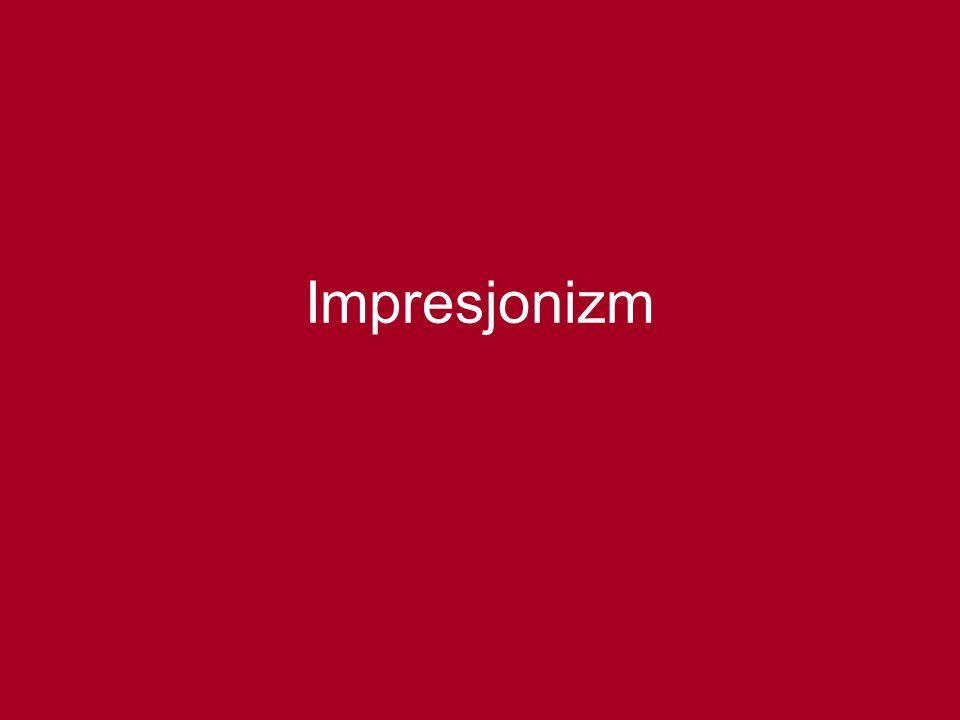 1863 – Salon Odrzuconych Eduard Manet 1874 – pierwsza wystawa impresjonistów w salonie fotograficznym Nadara Claude Monet – Impresja Wschód słońca Edgar Degas, Auguste Renoir, Alfred Sisley, Camille Pissarro, Berta Morrisot 1886 - koniec