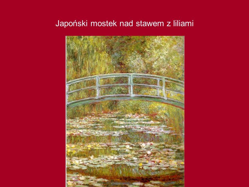 Japoński mostek nad stawem z liliami