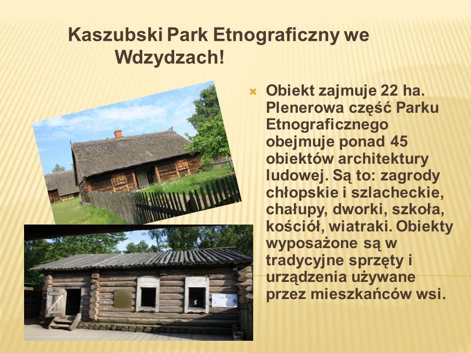 Kaszubski Park Etnograficzny we Wdzydzach! Obiekt zajmuje 22 ha. Plenerowa część Parku Etnograficznego obejmuje ponad 45 obiektów architektury ludowej