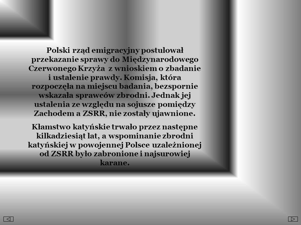 Polski rząd emigracyjny postulował przekazanie sprawy do Międzynarodowego Czerwonego Krzyża z wnioskiem o zbadanie i ustalenie prawdy. Komisja, która