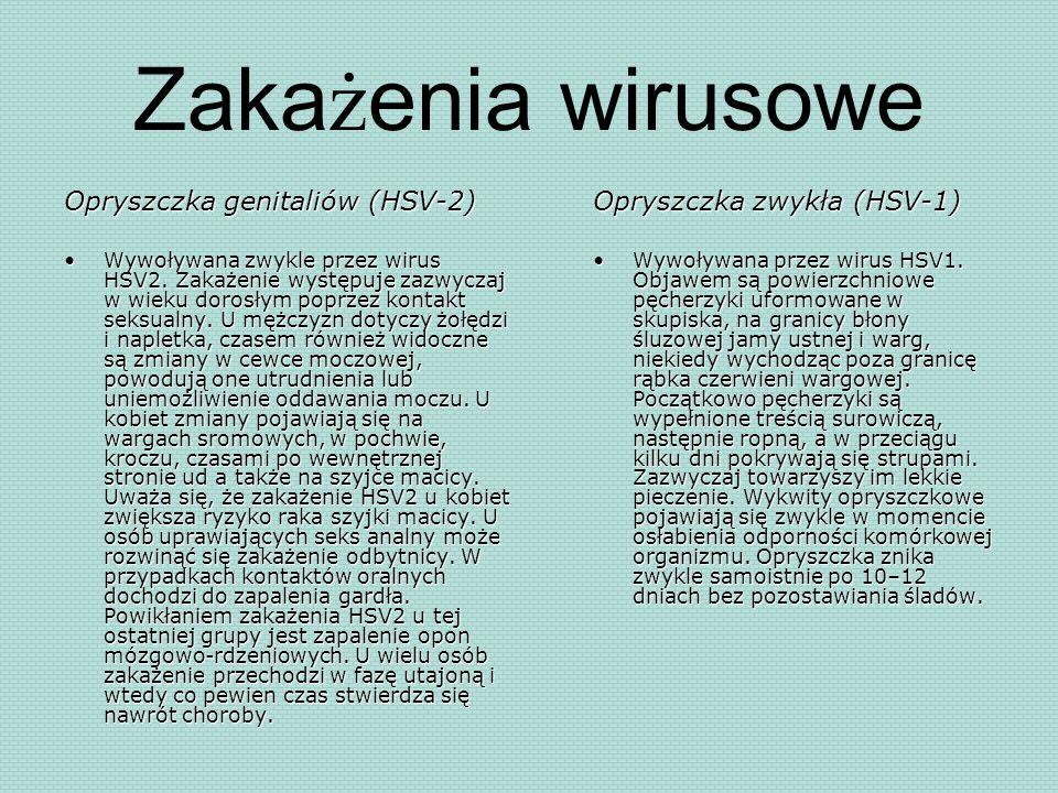 Zakażenia wirusowe Opryszczka genitaliów (HSV-2) Wywoływana zwykle przez wirus HSV2. Zakażenie występuje zazwyczaj w wieku dorosłym poprzez kontakt se