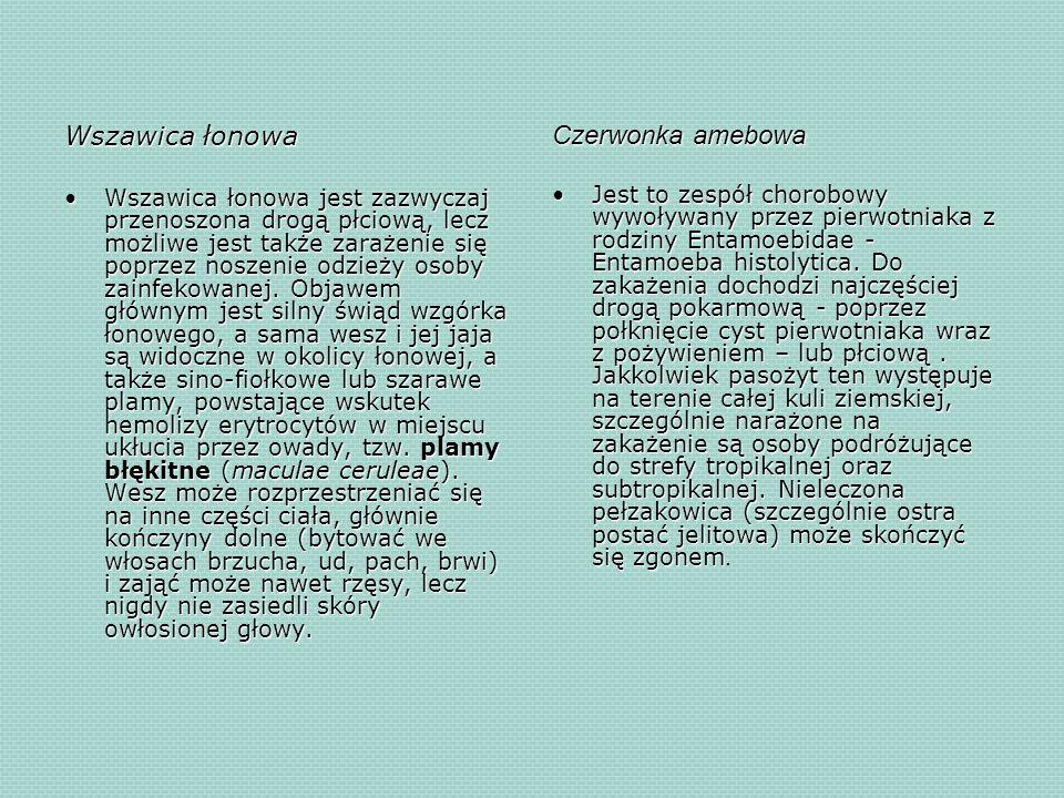 Wszawica łonowa Wszawica łonowa jest zazwyczaj przenoszona drogą płciową, lecz możliwe jest także zarażenie się poprzez noszenie odzieży osoby zainfek