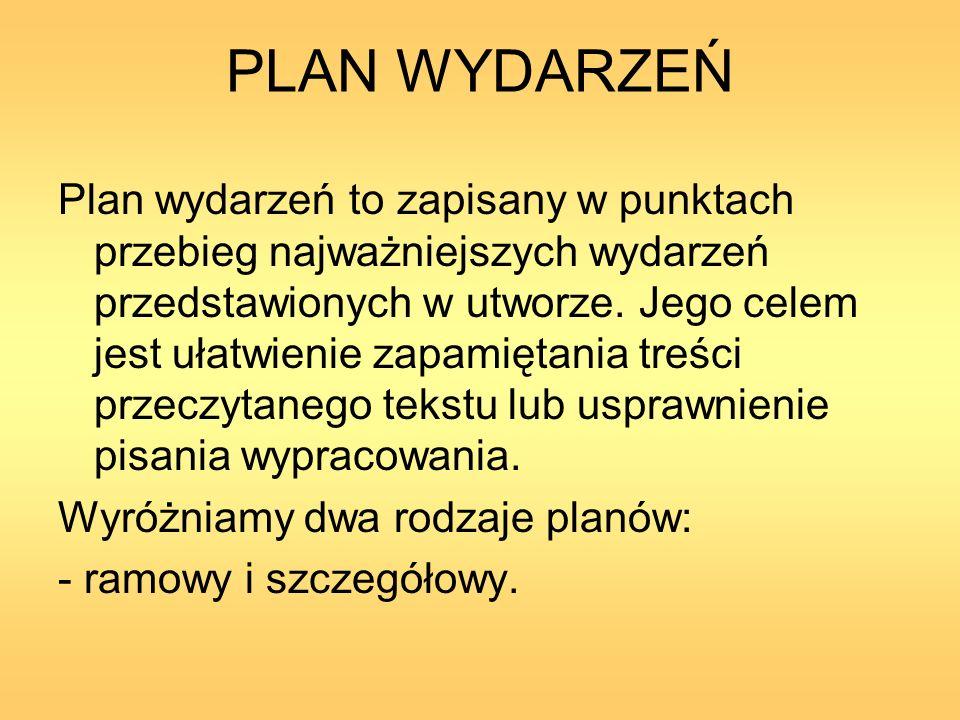 PLAN WYDARZEŃ Plan wydarzeń to zapisany w punktach przebieg najważniejszych wydarzeń przedstawionych w utworze. Jego celem jest ułatwienie zapamiętani