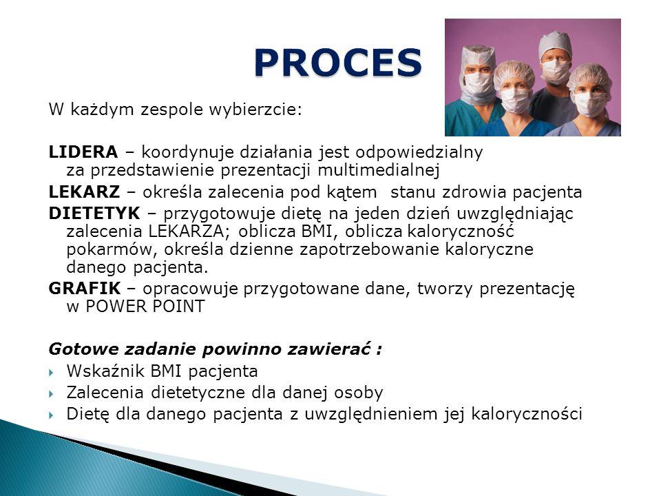 W każdym zespole wybierzcie: LIDERA – koordynuje działania jest odpowiedzialny za przedstawienie prezentacji multimedialnej LEKARZ – określa zalecenia