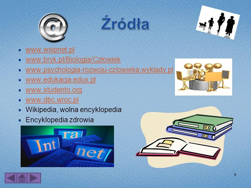 www.wsipnet.pl www.bryk.pl/Biologia/Człowiek www.psychologia-rozwoju-czlowieka.wyklady.pl www.edukacja.edux.pl www.studento.org www.dbc.wroc.pl Wikipe