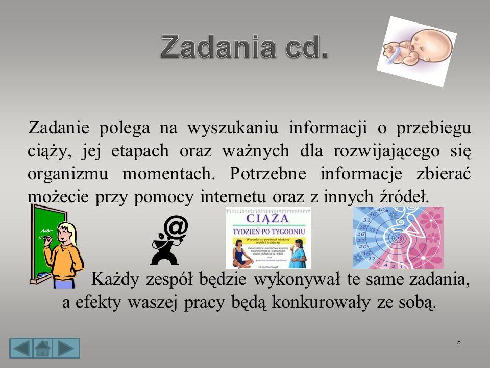 Zadanie polega na wyszukaniu informacji o przebiegu ciąży, jej etapach oraz ważnych dla rozwijającego się organizmu momentach. Potrzebne informacje zb