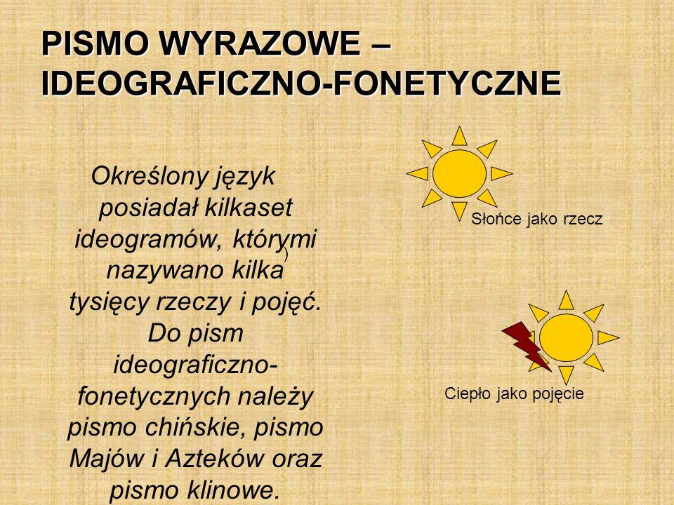 PISMO WYRAZOWE – IDEOGRAFICZNO-FONETYCZNE Określony język posiadał kilkaset ideogramów, którymi nazywano kilka tysięcy rzeczy i pojęć.