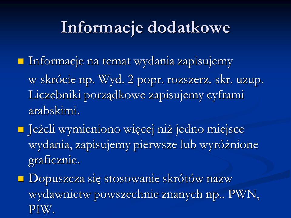 Opis bibliograficzny dokumentów elektronicznych Hłasko Marek, Ósmy dzień tygodnia [on line] [dostęp 19 września 2005] Dostępny Hłasko Marek, Ósmy dzień tygodnia [on line] [dostęp 19 września 2005] Dostępny w Internecie: http:// www.