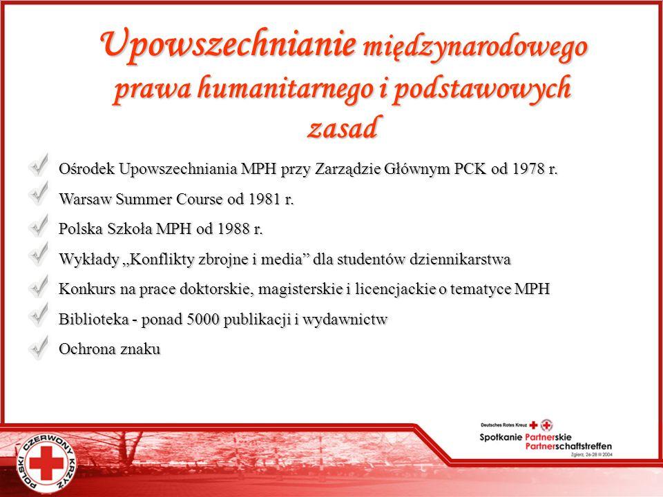 Upowszechnianie międzynarodowego prawa humanitarnego i podstawowych zasad Ośrodek Upowszechniania MPH przy Zarządzie Głównym PCK od 1978 r. Warsaw Sum