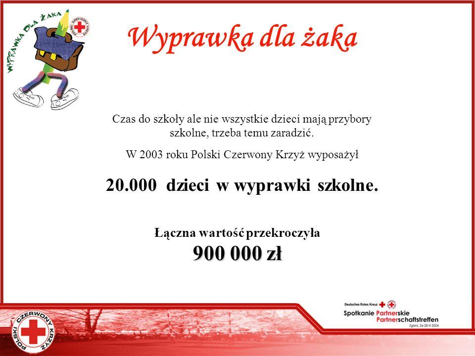 Wyprawka dla żaka Czas do szkoły ale nie wszystkie dzieci mają przybory szkolne, trzeba temu zaradzić. W 2003 roku Polski Czerwony Krzyż wyposażył 20.