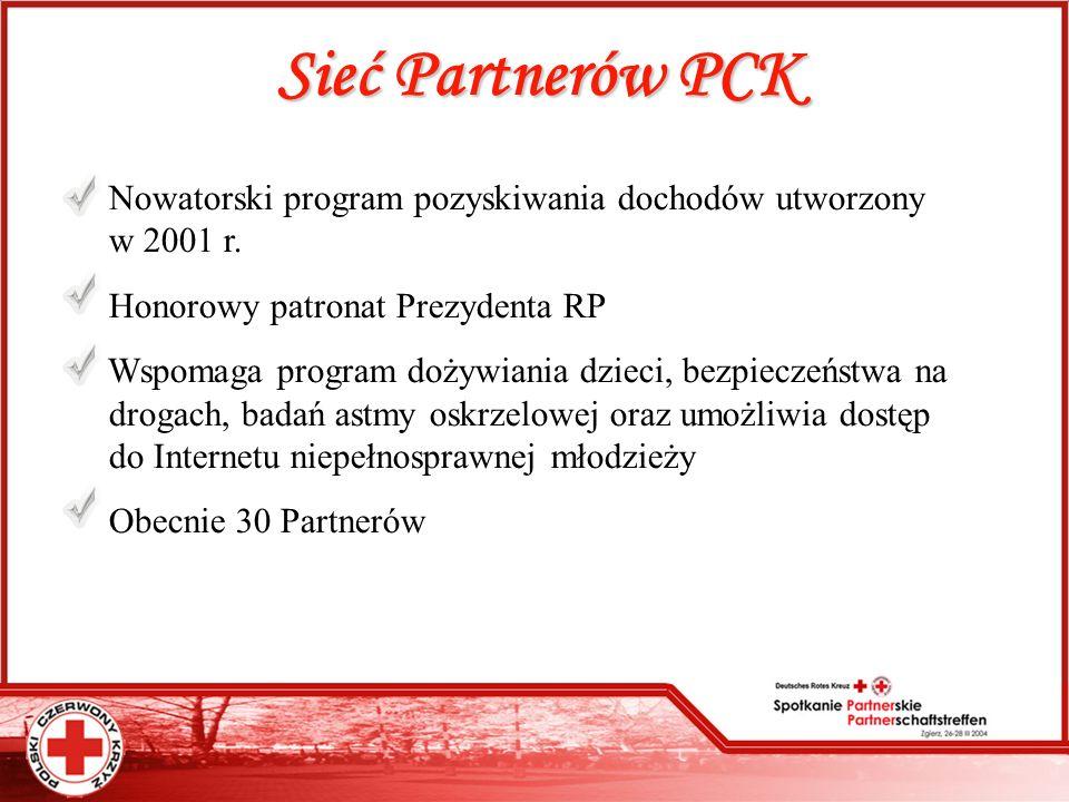 Sieć Partnerów PCK Nowatorski program pozyskiwania dochodów utworzony....w 2001 r. Honorowy patronat Prezydenta RP Wspomaga program dożywiania dzieci,