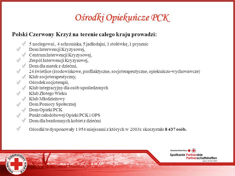 Ośrodki Opiekuńcze PCK Polski Czerwony Krzyż na terenie całego kraju prowadzi: 5 noclegowni, 4 schroniska, 5 jadłodajni, 1 stołówkę,1 prysznic Dom Int