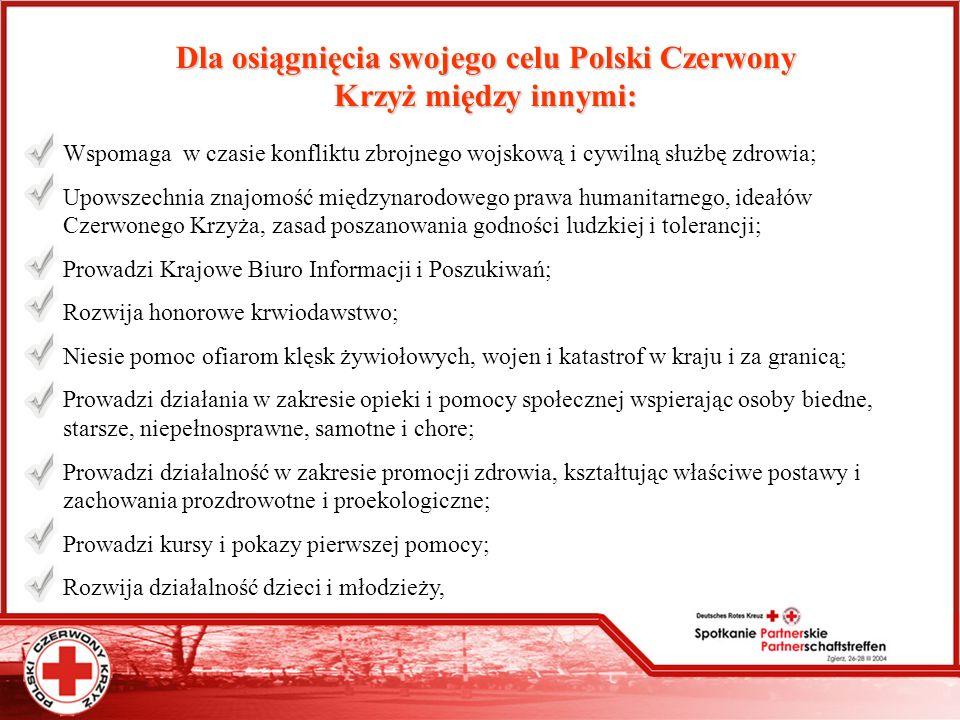 Siostry PCK Polski Czerwony Krzyż zatrudnia 3 440 Siostry PCK w ramach działania 142 Punktów Opieki PCK W 2003r.