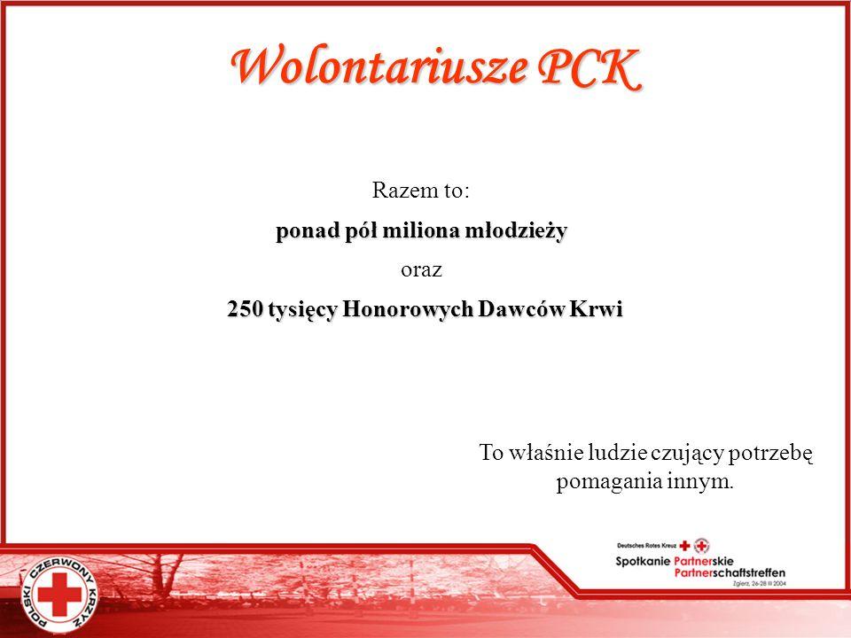 Wolontariusze PCK Razem to: ponad pół miliona młodzieży oraz 2 22 250 tysięcy Honorowych Dawców Krwi To właśnie ludzie czujący potrzebę pomagania inny