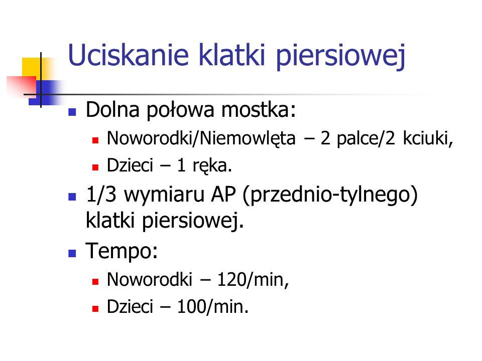 Uciskanie klatki piersiowej Dolna połowa mostka: Noworodki/Niemowlęta – 2 palce/2 kciuki, Dzieci – 1 ręka. 1/3 wymiaru AP (przednio-tylnego) klatki pi