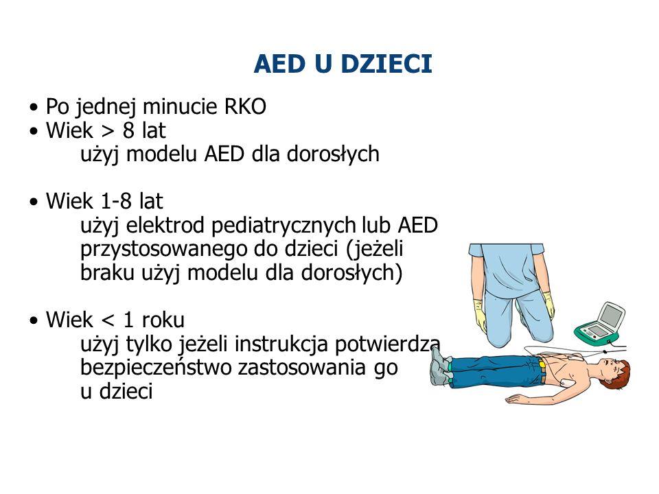 AED U DZIECI Po jednej minucie RKO Wiek > 8 lat użyj modelu AED dla dorosłych Wiek 1-8 lat użyj elektrod pediatrycznych lub AED przystosowanego do dzi