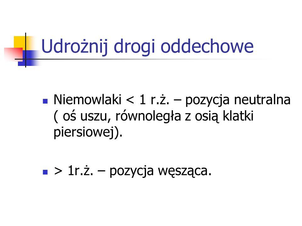 Udrożnij drogi oddechowe Niemowlaki < 1 r.ż. – pozycja neutralna ( oś uszu, równoległa z osią klatki piersiowej). > 1r.ż. – pozycja węsząca.