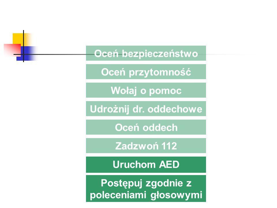 Zadzwoń 112 Oceń bezpieczeństwo Oceń przytomność Wołaj o pomoc Udrożnij dr. oddechowe Oceń oddech Uruchom AED Postępuj zgodnie z poleceniami głosowymi