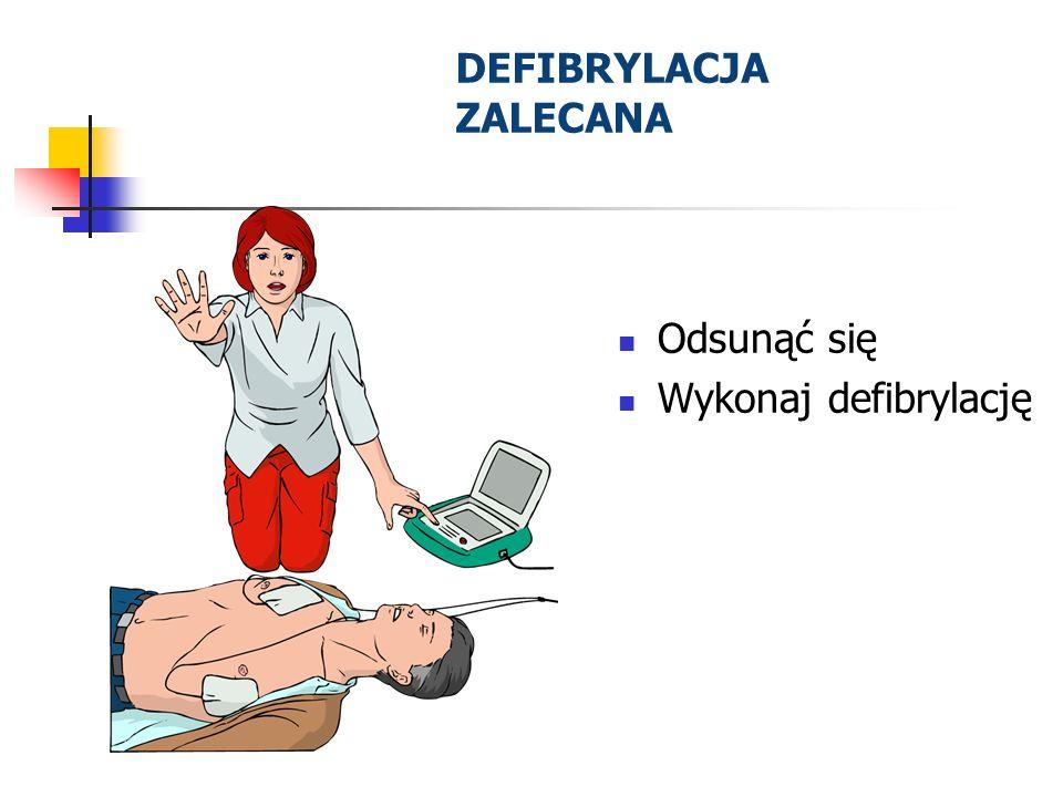 DEFIBRYLACJA ZALECANA Odsunąć się Wykonaj defibrylację