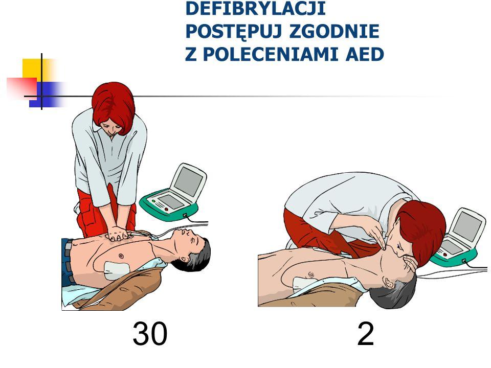 PO WYKONANIU DEFIBRYLACJI POSTĘPUJ ZGODNIE Z POLECENIAMI AED 30 2