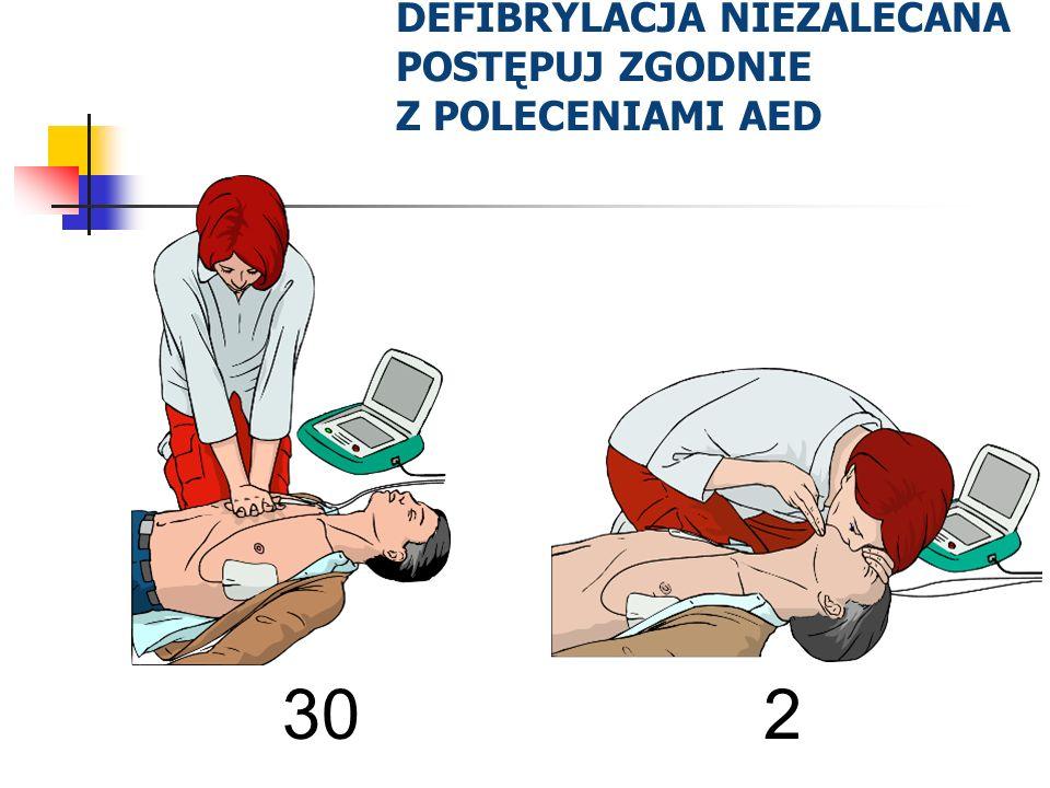 DEFIBRYLACJA NIEZALECANA POSTĘPUJ ZGODNIE Z POLECENIAMI AED 30 2