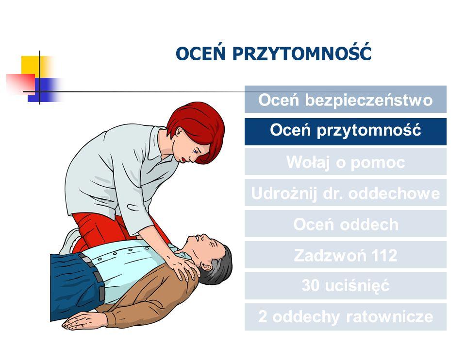 OCEŃ PRZYTOMNOŚĆ Oceń bezpieczeństwo Oceń przytomność Wołaj o pomoc Udrożnij dr. oddechowe Oceń oddech Zadzwoń 112 30 uciśnięć 2 oddechy ratownicze