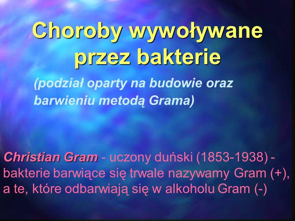 Choroby wywoływane przezbakterie Choroby wywoływane przez bakterie (podział oparty na budowie oraz barwieniu metodą Grama) Christian Gram Christian Gr