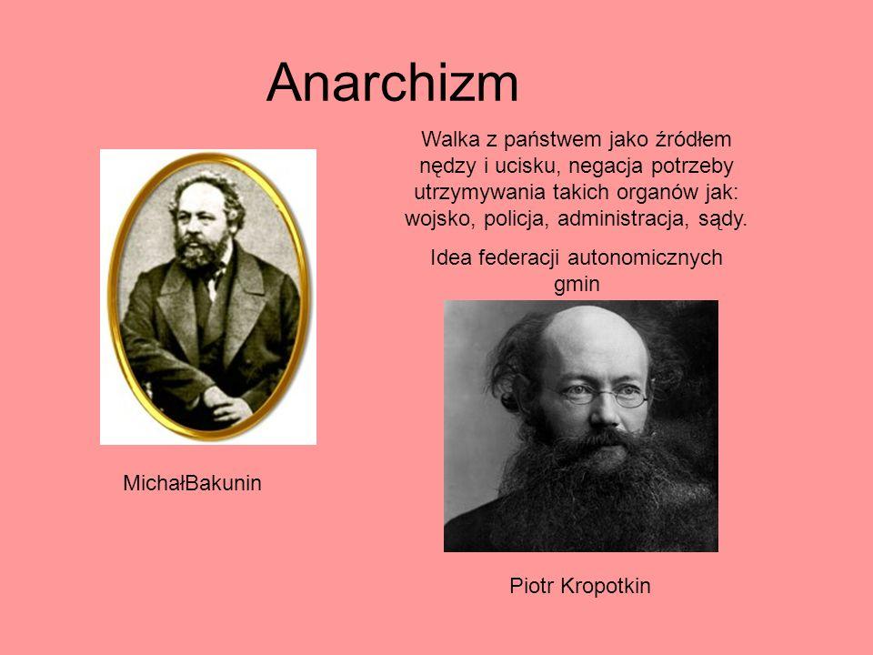 Anarchizm MichałBakunin Walka z państwem jako źródłem nędzy i ucisku, negacja potrzeby utrzymywania takich organów jak: wojsko, policja, administracja
