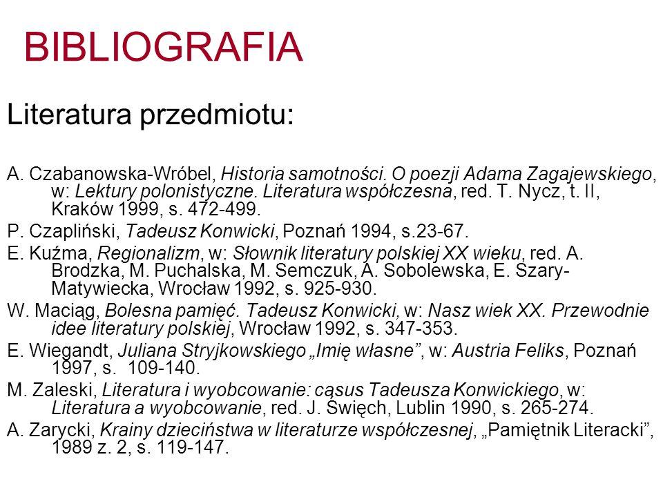 BIBLIOGRAFIA Literatura przedmiotu: A. Czabanowska-Wróbel, Historia samotności. O poezji Adama Zagajewskiego, w: Lektury polonistyczne. Literatura wsp