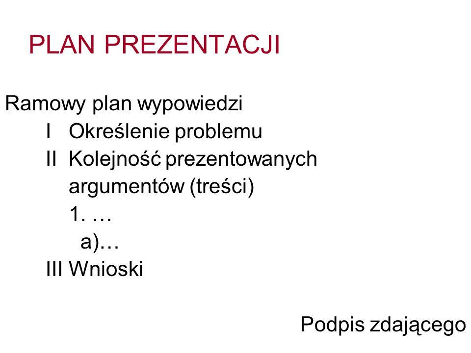 PLAN PREZENTACJI Ramowy plan wypowiedzi I Określenie problemu II Kolejność prezentowanych argumentów (treści) 1.