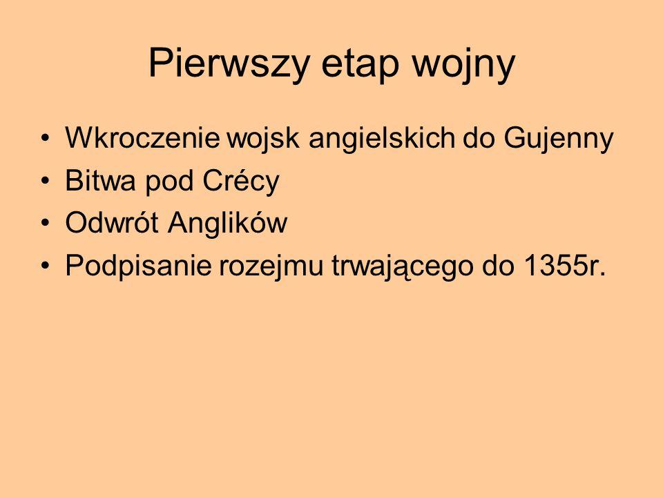 Pierwszy etap wojny Wkroczenie wojsk angielskich do Gujenny Bitwa pod Crécy Odwrót Anglików Podpisanie rozejmu trwającego do 1355r.