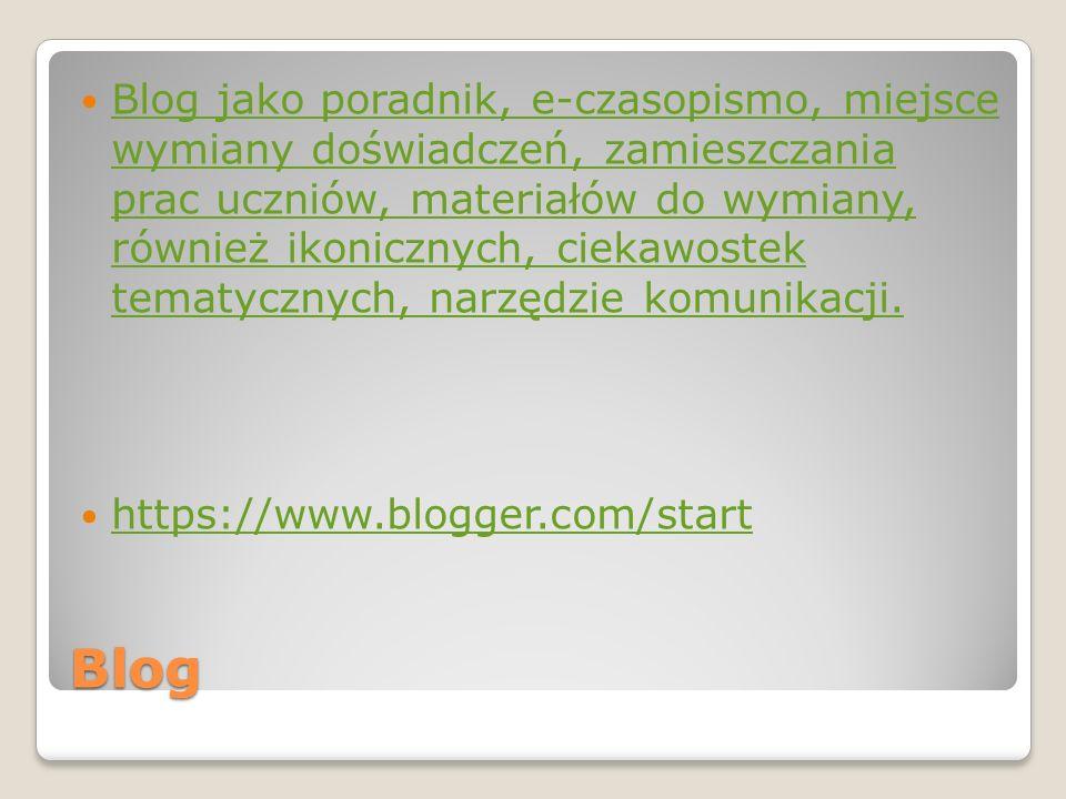 Blog Blog jako poradnik, e-czasopismo, miejsce wymiany doświadczeń, zamieszczania prac uczniów, materiałów do wymiany, również ikonicznych, ciekawoste