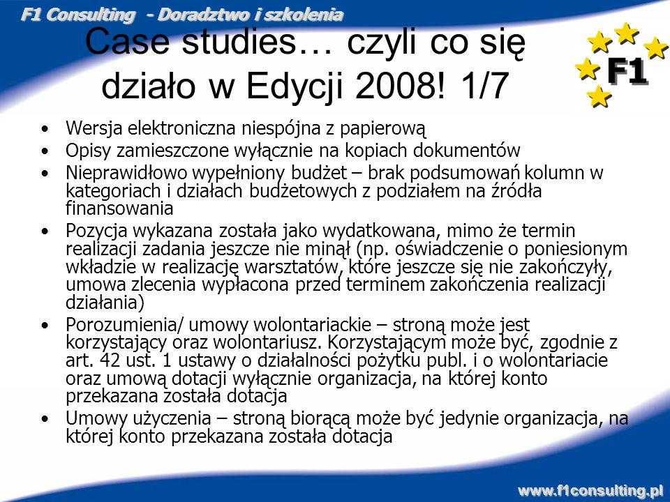 F1 Consulting - Doradztwo i szkolenia www.f1consulting.pl Case studies… czyli co się działo w Edycji 2008! 1/7 Wersja elektroniczna niespójna z papier