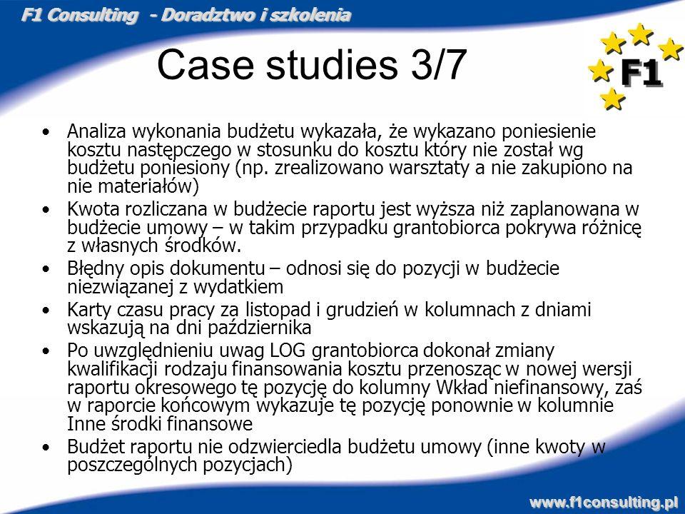 F1 Consulting - Doradztwo i szkolenia www.f1consulting.pl Case studies 3/7 Analiza wykonania budżetu wykazała, że wykazano poniesienie kosztu następcz