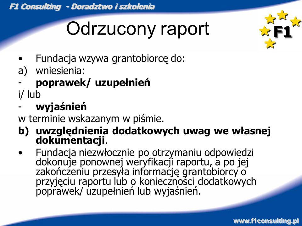 F1 Consulting - Doradztwo i szkolenia www.f1consulting.pl Odrzucony raport Fundacja wzywa grantobiorcę do: a)wniesienia: -poprawek/ uzupełnień i/ lub