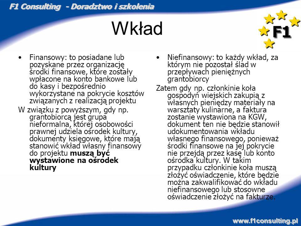 F1 Consulting - Doradztwo i szkolenia www.f1consulting.pl Wkład Finansowy: to posiadane lub pozyskane przez organizację środki finansowe, które został