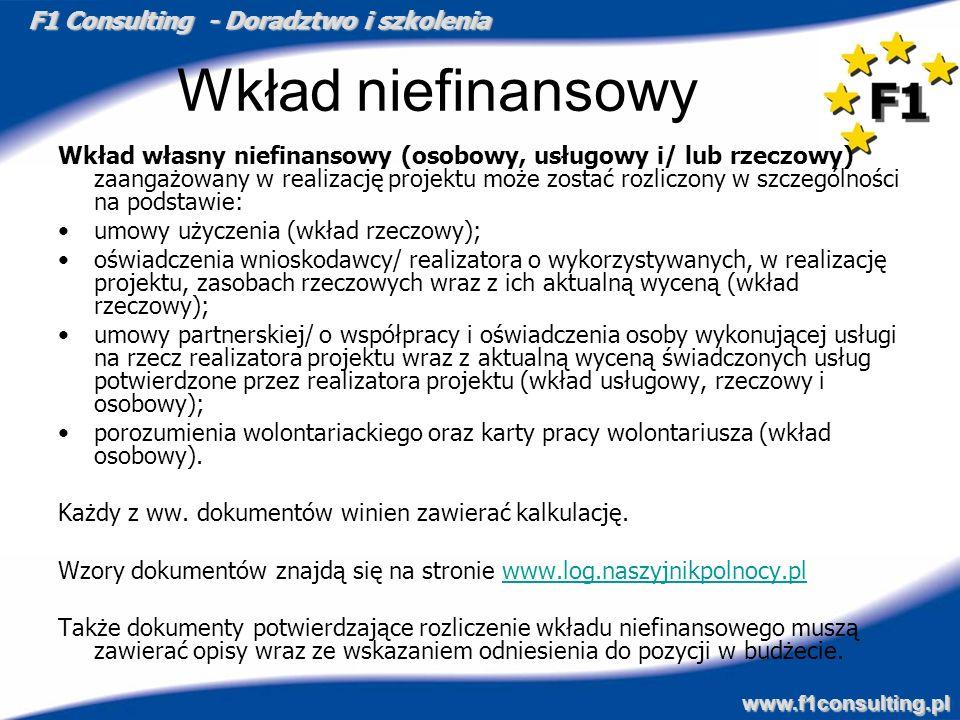 F1 Consulting - Doradztwo i szkolenia www.f1consulting.pl Wkład niefinansowy Wkład własny niefinansowy (osobowy, usługowy i/ lub rzeczowy) zaangażowan