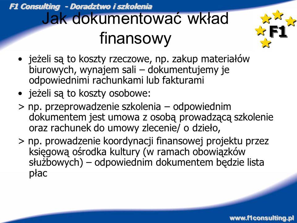 F1 Consulting - Doradztwo i szkolenia www.f1consulting.pl Jak dokumentować wkład finansowy jeżeli są to koszty rzeczowe, np. zakup materiałów biurowyc
