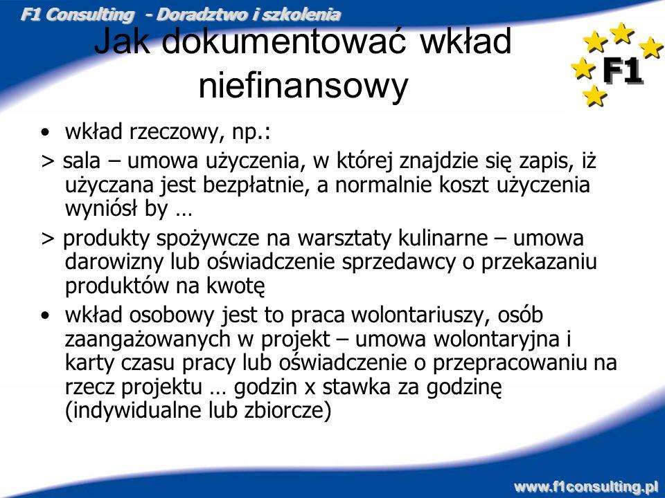F1 Consulting - Doradztwo i szkolenia www.f1consulting.pl Jak dokumentować wkład niefinansowy wkład rzeczowy, np.: > sala – umowa użyczenia, w której