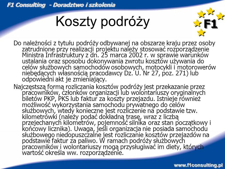 F1 Consulting - Doradztwo i szkolenia www.f1consulting.pl Koszty podróży Do należności z tytułu podróży odbywanej na obszarze kraju przez osoby zatrud