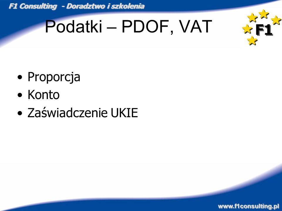 F1 Consulting - Doradztwo i szkolenia www.f1consulting.pl Podatki – PDOF, VAT Proporcja Konto Zaświadczenie UKIE