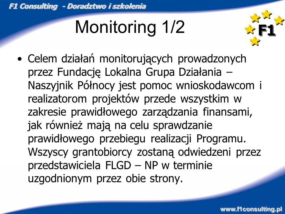 F1 Consulting - Doradztwo i szkolenia www.f1consulting.pl Monitoring 1/2 Celem działań monitorujących prowadzonych przez Fundację Lokalna Grupa Działa