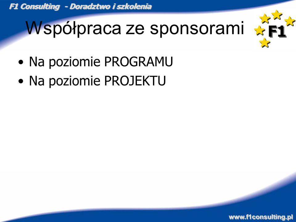 F1 Consulting - Doradztwo i szkolenia www.f1consulting.pl Współpraca ze sponsorami Na poziomie PROGRAMU Na poziomie PROJEKTU