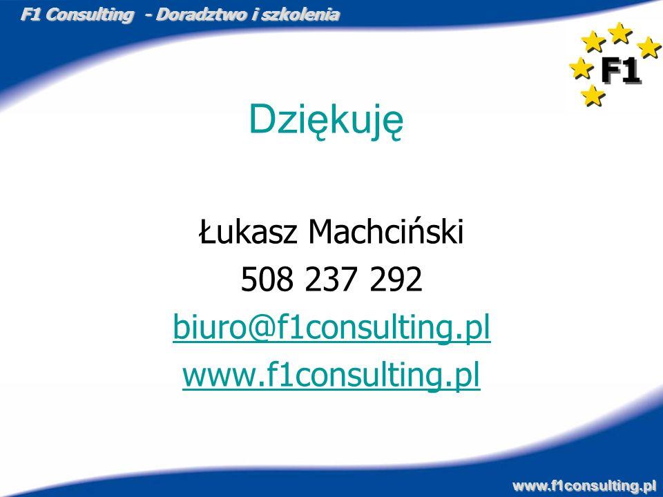F1 Consulting - Doradztwo i szkolenia www.f1consulting.pl Dziękuję Łukasz Machciński 508 237 292 biuro@f1consulting.pl www.f1consulting.pl