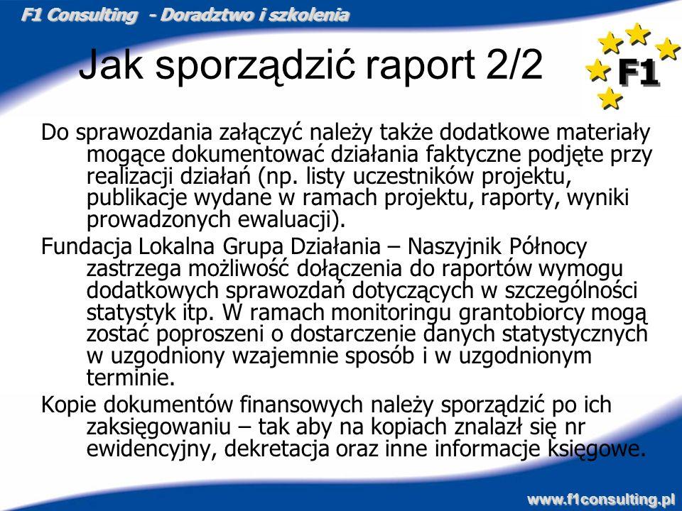 F1 Consulting - Doradztwo i szkolenia www.f1consulting.pl Jak sporządzić raport 2/2 Do sprawozdania załączyć należy także dodatkowe materiały mogące d