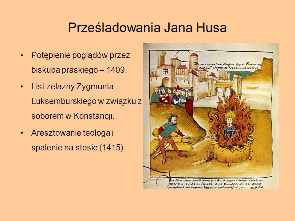 Prześladowania Jana Husa Potępienie poglądów przez biskupa praskiego – 1409. List żelazny Zygmunta Luksemburskiego w związku z soborem w Konstancji. A