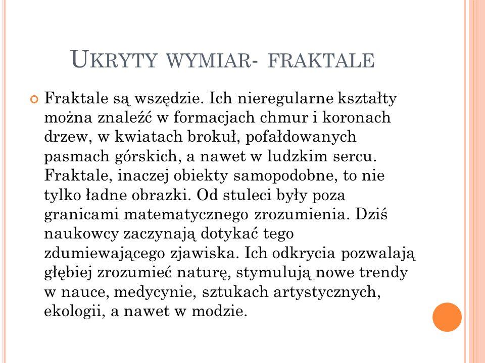 U KRYTY WYMIAR - FRAKTALE Fraktale są wszędzie. Ich nieregularne kształty można znaleźć w formacjach chmur i koronach drzew, w kwiatach brokuł, pofałd