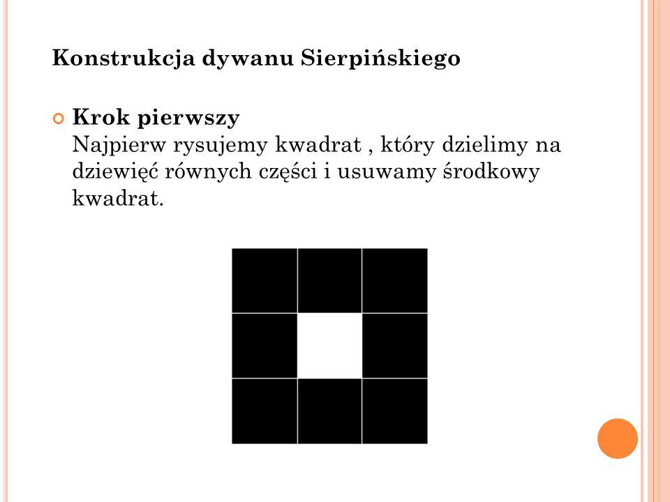 Konstrukcja dywanu Sierpińskiego Krok pierwszy Najpierw rysujemy kwadrat, który dzielimy na dziewięć równych części i usuwamy środkowy kwadrat.