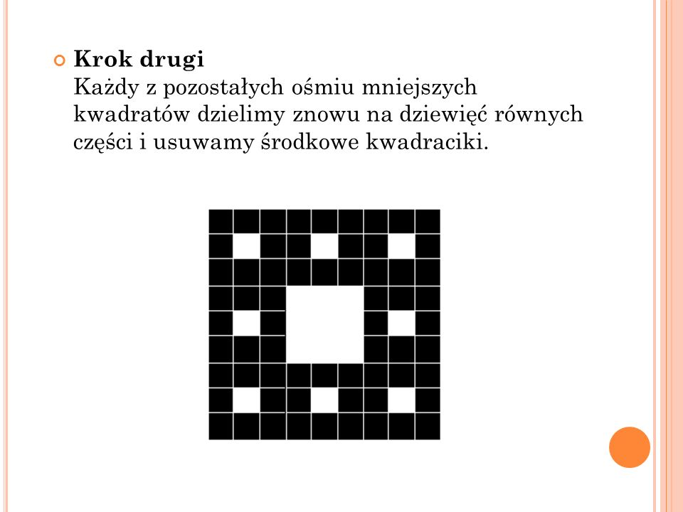 Krok drugi Każdy z pozostałych ośmiu mniejszych kwadratów dzielimy znowu na dziewięć równych części i usuwamy środkowe kwadraciki.